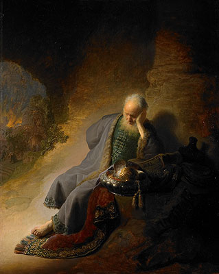 Jeremiah Lamenting the Destruction of Jerusalem, 1630 | Rembrandt | Painting Reproduction