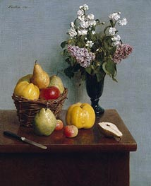 Fantin-Latour | Still Life with Flowers and Fruit, 1866 | Giclée Canvas Print
