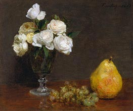 Fantin-Latour | Still Life with Roses and Fruit, 1863 | Giclée Canvas Print