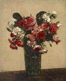 Fantin-Latour | Still Life with Roses and Asters in a Glass, 1877 | Giclée Canvas Print
