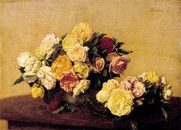 Fantin-Latour | Roses in a Bowl and Dish, 1885 | Giclée Canvas Print