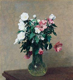 Fantin-Latour | White and Pink Mallows in a Vase, 1895 | Giclée Canvas Print