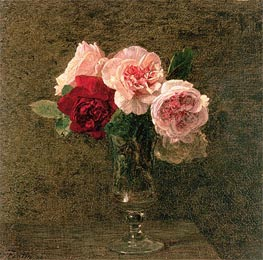 Fantin-Latour | Still Life of Pink and Red Roses, 1886 | Giclée Canvas Print