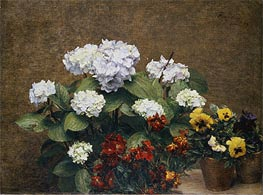 Fantin-Latour | Hortensias and Stocks with Two Pots of Pansies, 1879 | Giclée Canvas Print