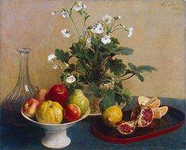 Fantin-Latour | Flowers, Dish with Fruit and Carafe | Giclée Canvas Print