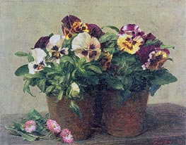 Fantin-Latour | Still Life of Pansies and Daisies | Giclée Canvas Print
