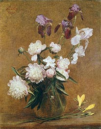 Fantin-Latour | Bouquet of Peonies and Irises, 1883 | Giclée Canvas Print