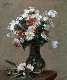 Fantin-Latour | Still Life with Zinnias and Phlox, 1888 | Giclée Canvas Print