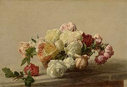 Fantin-Latour | Bowl of Roses on a Marble Table, 1885 | Giclée Canvas Print
