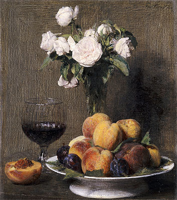 Still Life with Roses, Fruit and a Glass of Wine, 1872 | Fantin-Latour | Painting Reproduction