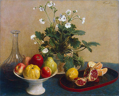 Flowers, Dish with Fruit and Carafe, 1865 | Fantin-Latour | Painting Reproduction