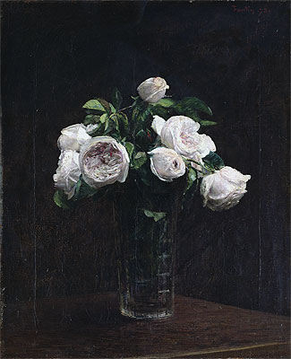 Blush Roses in a Glass, 1872 | Fantin-Latour | Painting Reproduction
