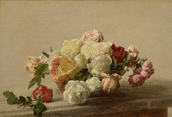 Bowl of Roses on a Marble Table, 1885 | Fantin-Latour | Giclée Canvas Print