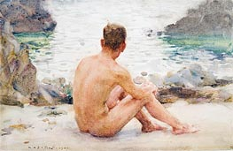 Tuke | Charlie Seated on the Sand | Giclée Canvas Print