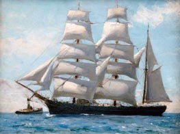 Tuke | Barque in Full Sail Dropping Her Tug | Giclée Canvas Print