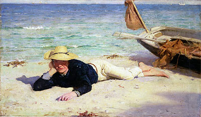 A Hot Summer Day, 1885 | Tuke | Painting Reproduction