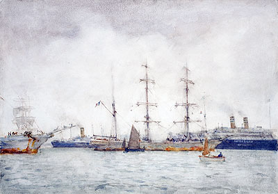 Ships in Harbour, c.1919 | Tuke | Painting Reproduction