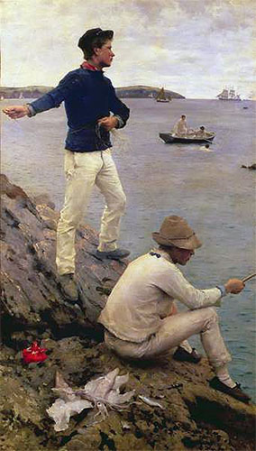 Two Falmouth Fisher Boys, 1885 | Tuke | Painting Reproduction