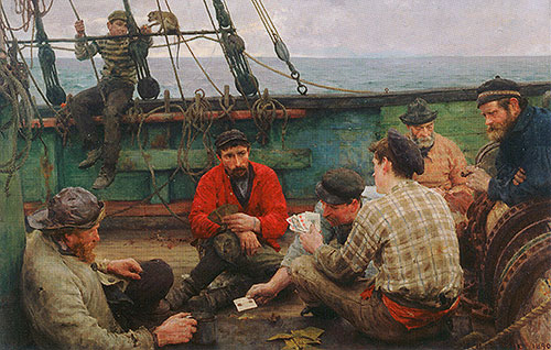 Euchre (The Dog Watch and Sailors Playing Cards), c.1889/90 | Tuke | Giclée Canvas Print