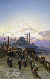 Hermann David Salomon Corrodi | The Galata Bridge, Constantinople, undated | Giclée Canvas Print