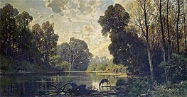 Hermann David Salomon Corrodi | A Tranquil Wooded Scene with Deer Drinking from a Pond | Giclée Canvas Print
