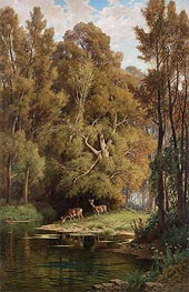 Hermann David Salomon Corrodi | Scene in the Forest with Deers | Giclée Canvas Print