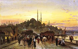 Hermann David Salomon Corrodi | The Golden Horn, Galata Bridge, Constantinople, Undated | Giclée Canvas Print
