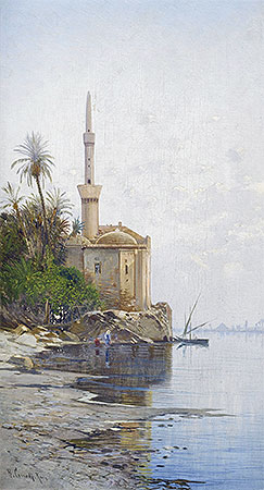On the Banks of the River Nile, undated | Hermann David Salomon Corrodi | Painting Reproduction