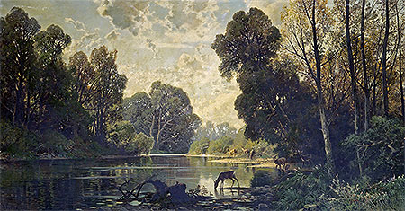 A Tranquil Wooded Scene with Deer Drinking from a Pond, undated | Hermann David Salomon Corrodi | Painting Reproduction
