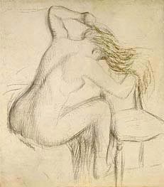 Degas | A Seated Nude Woman Styling her Hair, undated | Giclée Paper Print