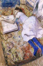 Degas | Young Girl Stretched Out Looking at an Album | Giclée Paper Print