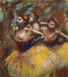 Degas | Three Dancers (Yellow Skirts, Blue Blouses), c.1896 | Giclée Paper Print