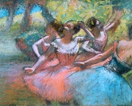 Degas | Four Ballerinas on the Stage, c.1885/90 | Giclée Canvas Print