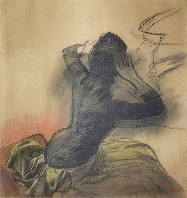 Seated Woman Adjusting Her Hair, c.1884 | Degas | Painting Reproduction