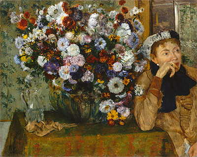 A Woman Seated beside a Vase of Flowers (Madame Paul Valpincon), 1865 | Degas | Giclée Canvas Print
