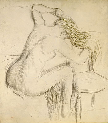 A Seated Nude Woman Styling her Hair, undated | Degas | Giclée Paper Print