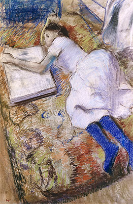 Young Girl Stretched Out Looking at an Album, undated | Degas | Giclée Paper Print