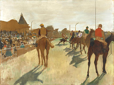 The Parade (Race Horses in Front of the Stands), c.1866/68 | Degas | Giclée Canvas Print