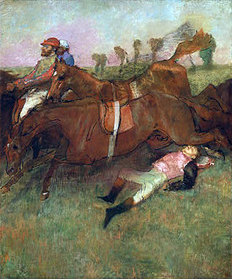 Scene from the Steeplechase: The Fallen Jockey, 1866 | Degas | Giclée Canvas Print
