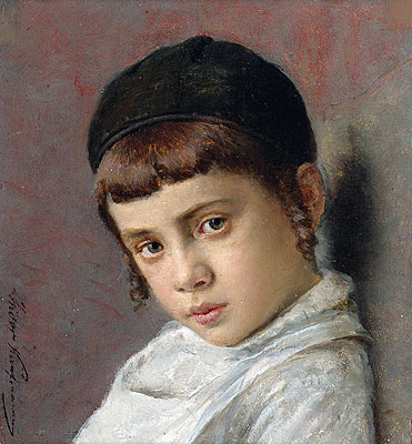 Isidor Kaufmann | Portrait of a Young Boy with Peyot, Undated | Giclée Canvas Print