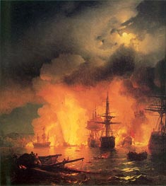 Aivazovsky | The Battle of Chesma, 25-26 June 1770 | Giclée Canvas Print