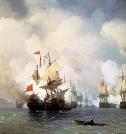 Aivazovsky | The Battle in the Straits of Chios, 24 June 1770 | Giclée Canvas Print