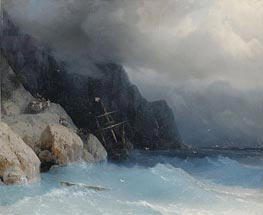 Aivazovsky | Survivors of a Shipwreck on a Rocky Path | Giclée Canvas Print