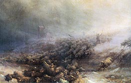 Aivazovsky | Stampede of Sheep into Icy Water, 1884 | Giclée Canvas Print