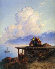Aivazovsky | Turks Conversing by the Black Sea at Sunset, 1898 | Giclée Canvas Print
