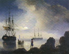 Aivazovsky | Moonlight off the Crimean Coast, 1836 | Giclée Canvas Print