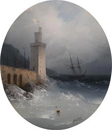 Aivazovsky | View of the Amalfi Coast, 1865 | Giclée Canvas Print
