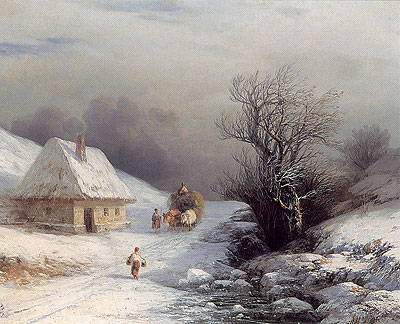 Little-Russian Ox Cart in Winter, 1866 | Aivazovsky | Painting Reproduction