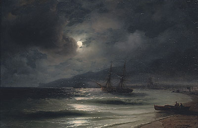 On the Coast at Night, 1875 | Aivazovsky | Painting Reproduction