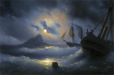 Gibraltar by Night, 1844 | Aivazovsky | Painting Reproduction